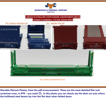 JTC 402552 Flatrack containers Assortment Set #2 –  6-container set
