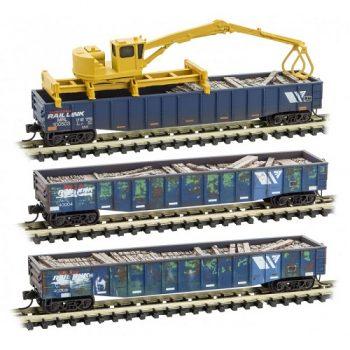Micro-Trains 99302030 MRL Montana Rail Link Weathered 3pk  Tie Loader Set