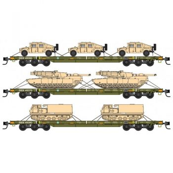Micro-Trains 99301811 DODX Olive Drab w/ reflectors Weathered 3pk  68′ Heavy Flat Cars