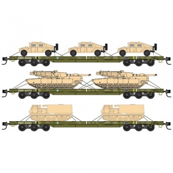 Micro-Trains 99301812 DODX Olive Drab w/out reflectors Weathered 3pk  68′ Heavy Flat Cars